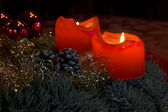 Candles on Advent Wreath — Stock Photo