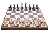 Chess board set up to begin a game — Stock Photo