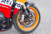 Front wheel motorcycle Honda — Stock Photo
