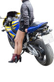 Girl with a motorcycle — Stock Photo