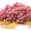 Red grapes on leaves — Stock Photo
