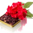 Red flower and hibiscus tea - Stock Photo