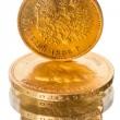 Russian old coin of pure gold on white — Stock Photo #17701319