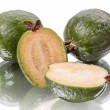 Three feijoa on white — Stock Photo