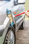 Child car washes — Stock Photo