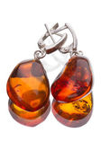 Earrings with amber — Stock Photo