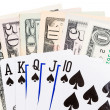 Black dollar royal flush — Stock Photo