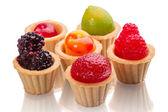 Tartlets 与水果软糖 — 图库照片