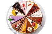 Bovenaanzicht van de verschillende stukken van cake — Stockfoto