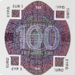 One hundred euro note hologram — Stock Photo