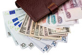 Dollars, euros, russian Robles in the wallet — Stock Photo