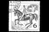 Equestrian sport on a postage stamp — Stock Photo