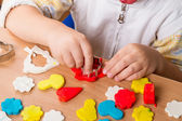 Children work with plasticine — Stock Photo