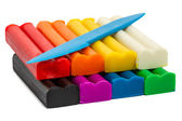 Modeling clay eight colors — Stock Photo