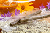 Sticks propolis and honey — Stock Photo