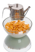 Crispy corn flakes and milkman — Stock Photo