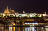 Night on the left bank of the Vltava River — Stock Photo