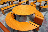 Table and chairs outdoor cafe — Stock Photo