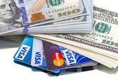 Cash dollars and credit cards — Stock Photo
