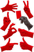 Hand gestures in a red and black glove — Foto Stock