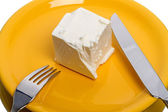 Piece of cheese on  plate — Foto Stock