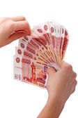 Hands with Russian paper money  — Stock Photo