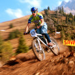 Autumn extreme mountain bike competition — Stock Photo