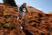 Autumn extreme mountain bike competition — Stock Photo