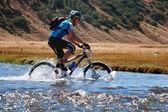 Mountain bike cross-country marathon — Stock Photo