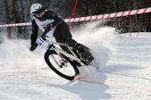 Winter mountain bike competition — Stock Photo