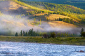 Morning fog on river in northern Mongolia — Stock Photo
