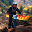 Autumn extreme mountain bike competition — Stock Photo #23491841