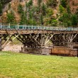 Stock Photo: Old wooden bridge in the Mongolia