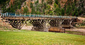 Old wooden bridge in the Mongolia — Stock Photo