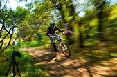 Competencia de bicicleta de montaña extrema — Foto de Stock
