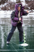 Ice fisherman — Stock Photo