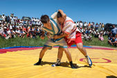 Kazaksha kyres - the national wrestling in Kazakhstan — Stock Photo