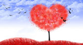 Valentine tree of heart shape, love - Illustration — Photo