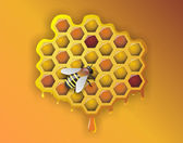 Working Bee and Honeycomb - Illustration — Stock Photo