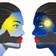Day and night concept in the women face — Stock Photo
