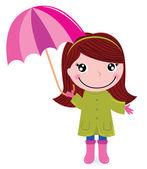 Cute little girl with Umrella in rain — Stock Vector