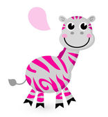 Cute pink zebra isolated on white — Stock Vector