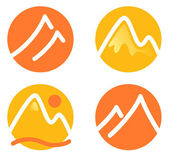 Mountain icons set isolated on white ( orange and yellow ) — Stock Vector