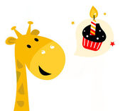 Cute party Giraffe with cupcake isolated on white — Stock Vector