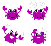 Pink crab in various poses isolated on white — Stock Vector