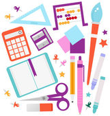 School accessories set isolated on white — Stock Vector