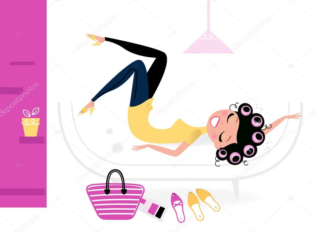 Female relaxing in retro interior. Vector illustration — Stock Vector #12708626