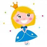 Cute little cartoon princess isolated on white — Stock Vector