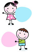 Doodle boy and girl holding blank banners — Stock Vector