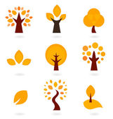 Autumn trees icons isolated on white ( orange ) — Vector de stock